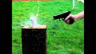 Glock vs Cup of Water - Super Slow Mo - With Audio