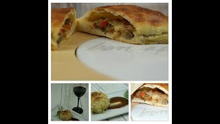 Stuffed Artichoke Bottom with Crab Meat-Tomato, Eggplant and Mozzarella Calzone with Black Olives