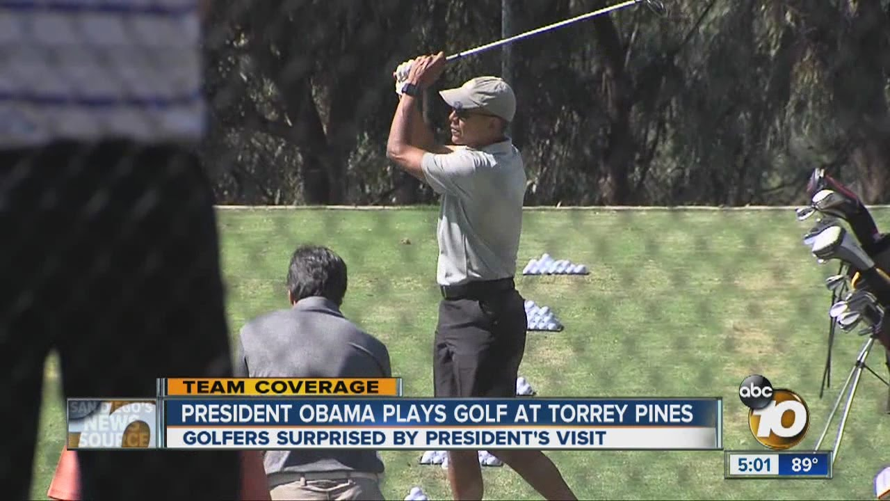 8668267e708020 President Obama plays golf at Torrey Pines - YouTube