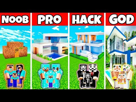 Minecraft: FAMILY MODERN NICE HOUSE BUILD CHALLENGE - NOOB vs PRO vs HACKER vs GOD in Minecraft