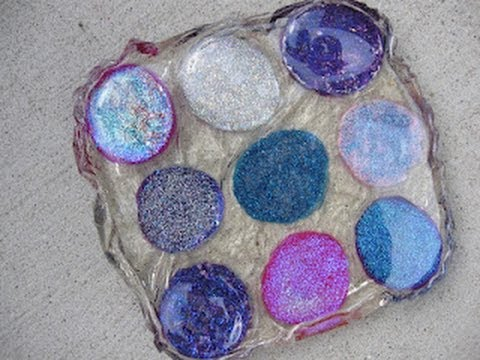 Nail polish stone resin coaster craft tutorial youtube for Crafts using stones