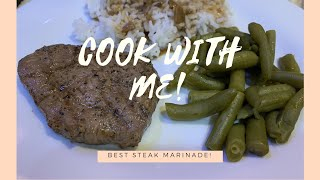 COOK WITH ME | Best steak marinade in existence, rice and gravy, green beans | Vlogtober Day 20