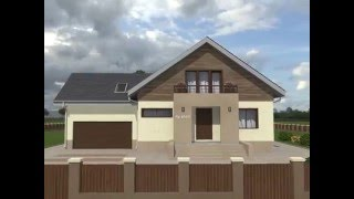 видео Проект одноэтажного дома с мансардой и гаражом Rg4913