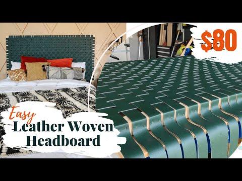 $80 DIY Leather Woven Headboard