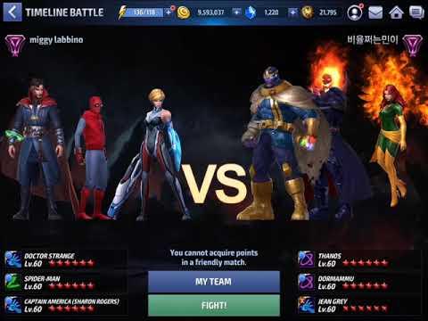 [Marvel Future Fight]Dr Strange vs Thanos/Dormammu/Jean grey