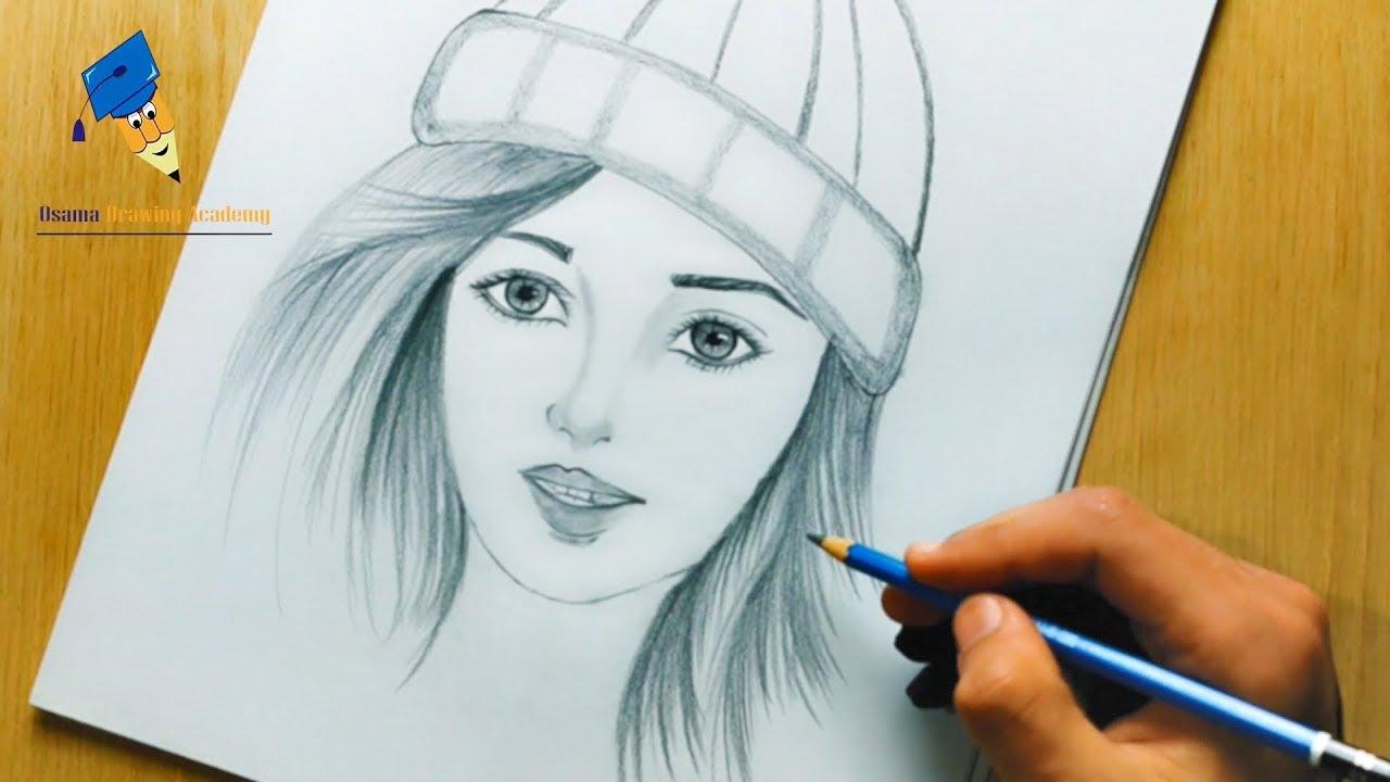 تعليم الرسم طريقة سهلة لرسم بنت كيوت من الامام مع شعر جميل تعليم