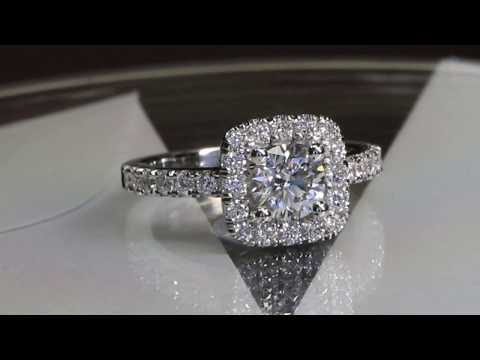 1 carat diamond cushion halo white gold ring