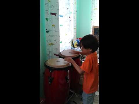 Edward jamming on Conga drums