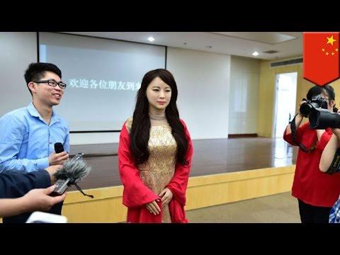'Robot goddess' unveiled at Chinese university, hot robot modeled after 5 hottest girls - TomoNews