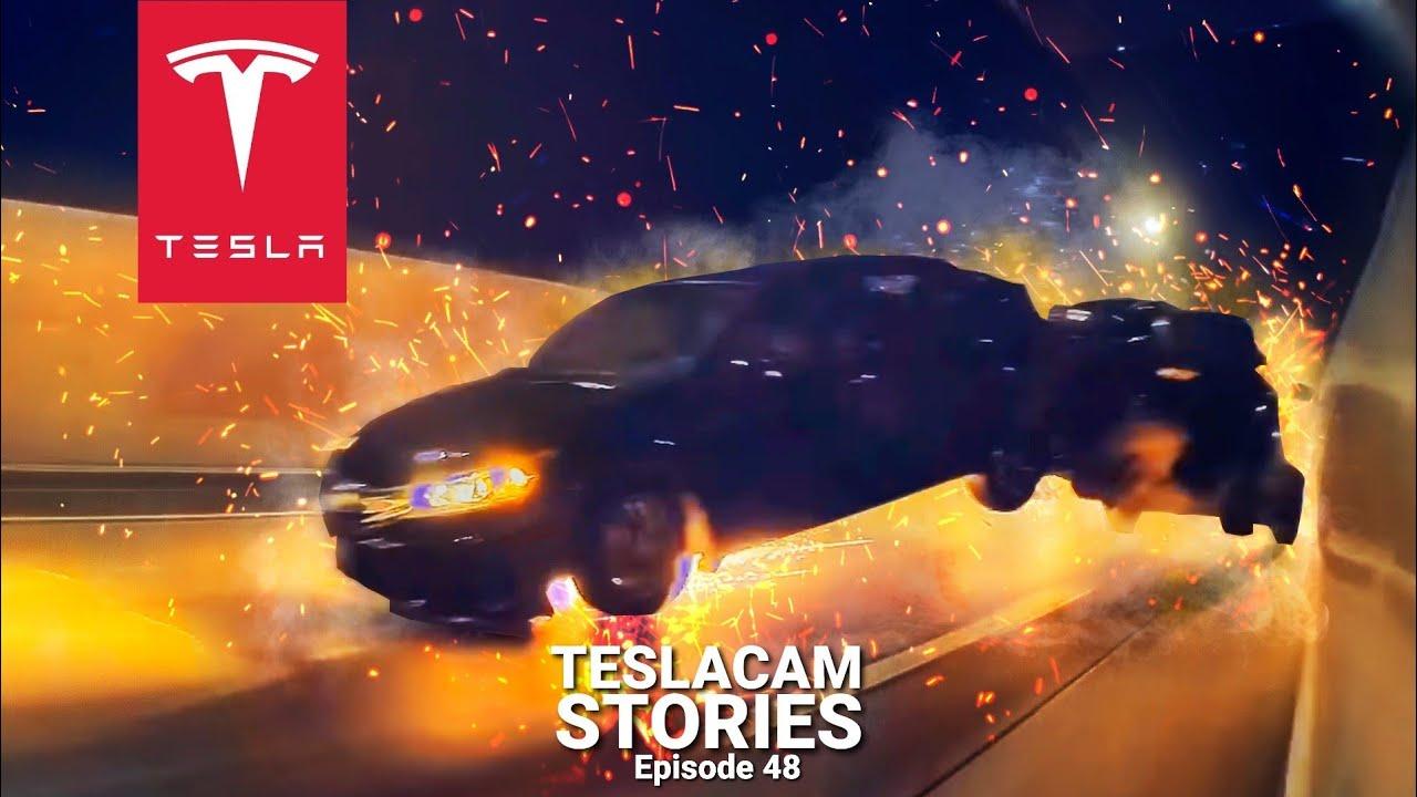 DODGE CHALLENGER RACES A TESLA AND ENDS IN MASSIVE CAR CRASH | TESLACAM STORIES #48
