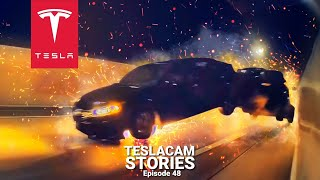 DODGE CHALLENGER RACES A TESLA AND ENDS IN MASSIVE CAR CRASH | TESLACAM STORIES #48