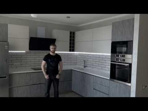 Кухня гостиная. Столешница из искусственного камня. Кухня студия с фурнитурой Blum. Кухни Киев.