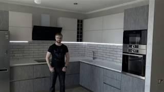 кухня гостиная. Столешница из искусственного камня. Кухня студия с фурнитурой Blum. Кухни Киев