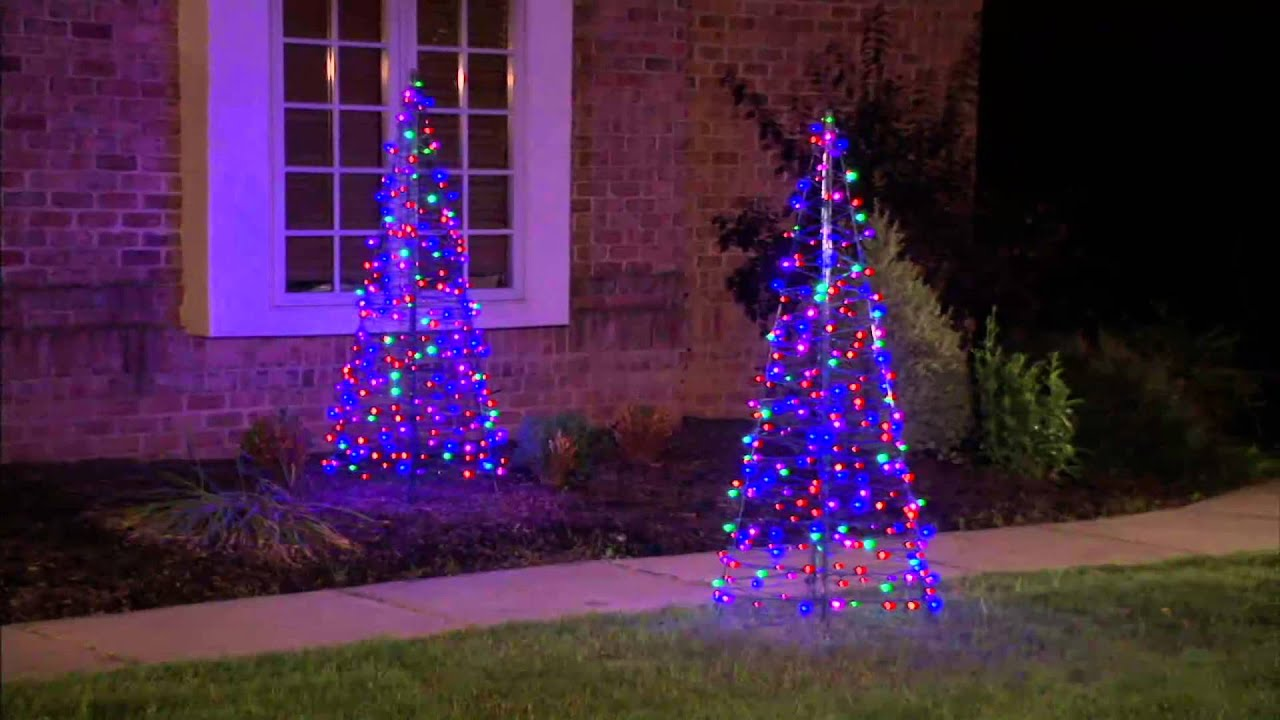 Outdoor Pre-Lit Christmas Trees