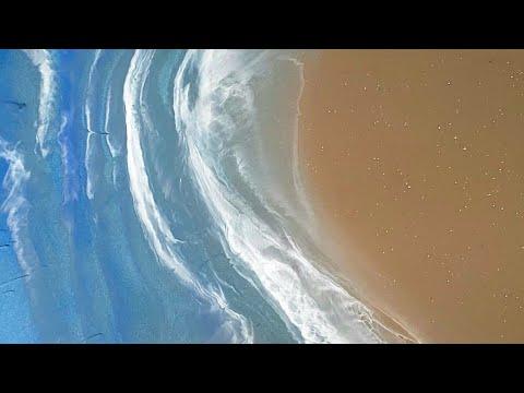 Easy Epoxy Resin Beach Art   Beach Waves Painting
