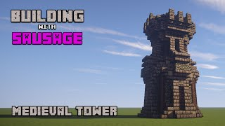 Minecraft - Building with Sausage - Medieval Tower!!!