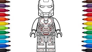 How to draw Lego Iron Man Mark 48 from Marvel