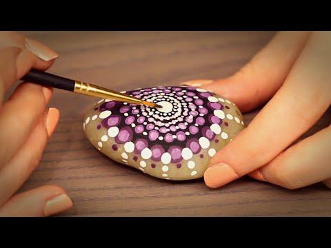 🎨 Painting A Mandala Stone ASMR (Fully Whispered, Binaural, Ear to Ear, Tapping)
