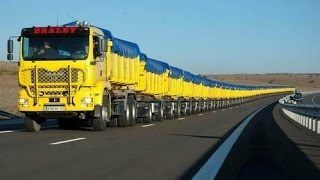 The World's Longest Truck - Road Train in Australia(Australia - a country road trains. In the Australian outback, where for hundreds of kilometers around you to meet a couple of other cattle-farms, or