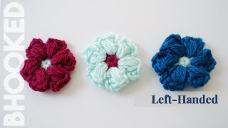 How to Crochet the Puff Stitch Flower Left Handed
