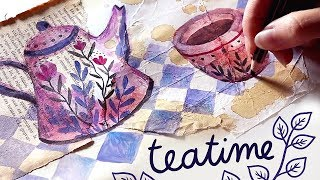 Painting with tea (mixed media)