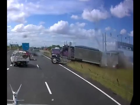 Thanks to whoever invented wire rope barriers - M7 Truck Crash NSW