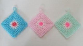 코바늘 수세미/ 사각속 꽃수세미  Crochet  di…