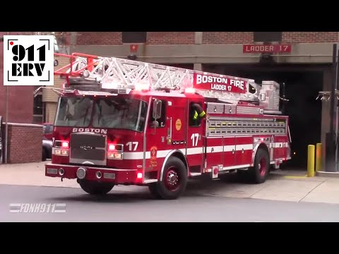 Boston Fire Department New Ladder 17 Responding With