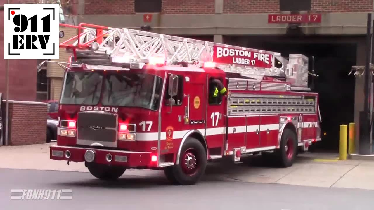 Boston Fire Engine 7 & Ladder 17 (Spare) Responding to a
