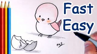How to Draw Baby Bird Just came out of Egg - For Kids (Step by Step Easy)