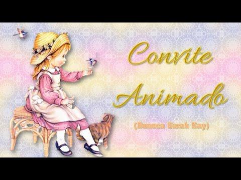 Convite Animado Boneca Sarah Kay Floral