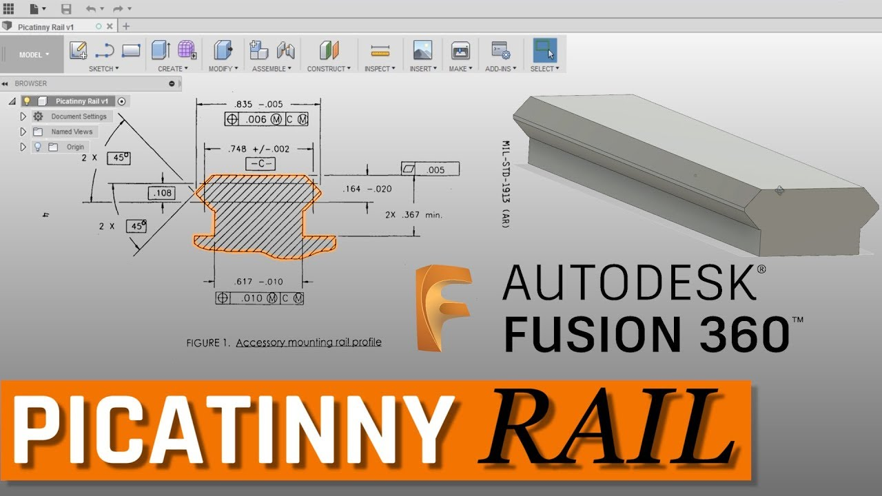 Picatinny Rail from Drawing to 3D Model in Fusion 360 - FF113 by NYC CNC