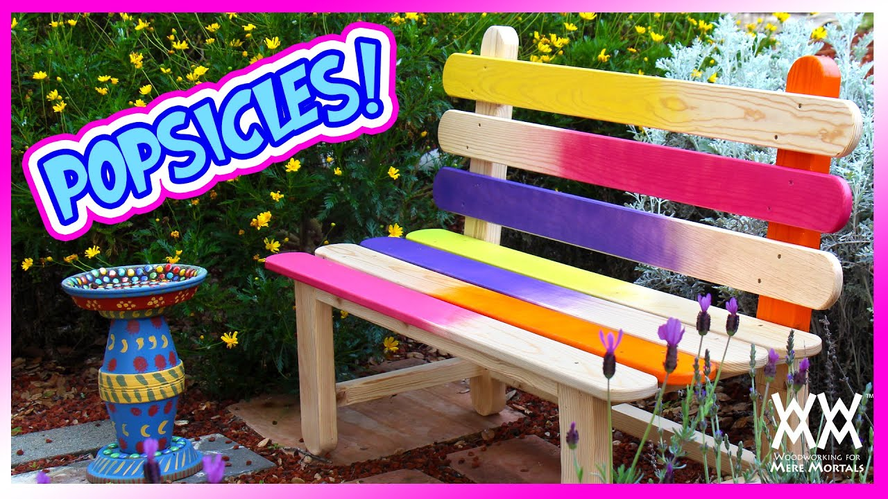 Popsicle Stick Bench. Fun and Colorful DIY Project for your Garden! - YouTube