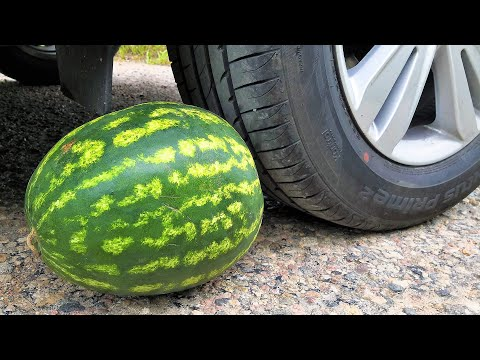 EXPERIMENT: CAR VS WATERMELON Crushing Crunchy & Soft Things by Car