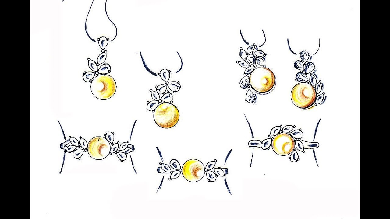 Drawing Pearl Pendant Set Pencil Sketching Jewelry Design Youtube