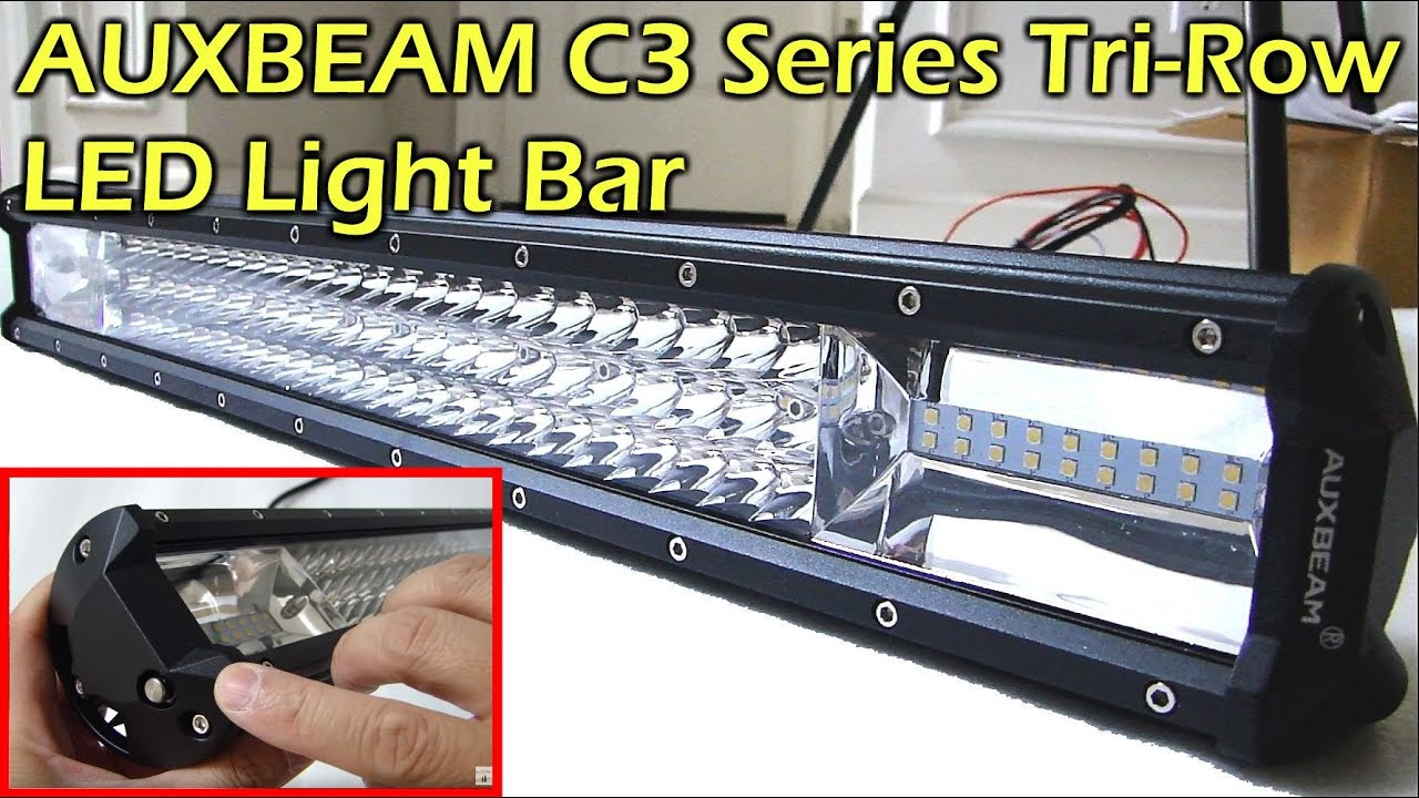Auxbeam c3 series tri row led light bar youtube aloadofball Image collections