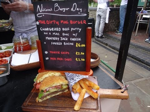 """THE DIRTY MAC BURGER"" a street food special by ""The Mac Factory"" in Camden Lock Market, London."