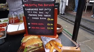 """""""THE DIRTY MAC BURGER"""" a street food special by """"The Mac Factory"""" in Camden Lock Market, London."""