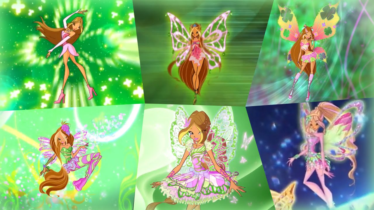 Winx Club - Flora All Full Transformations up to Tynix! HD! #1