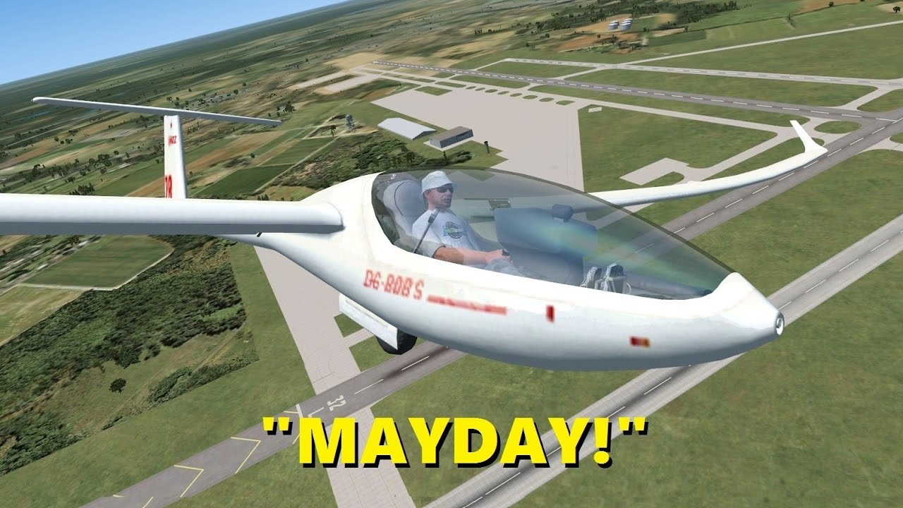 glider pilot declares emergency trolling in flight sim x
