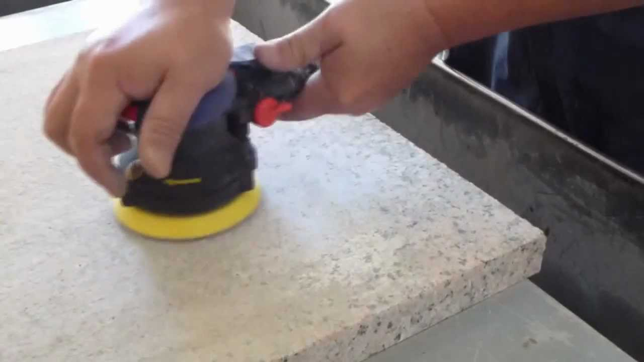 Granite Polishing by Air Random Orbital Sander Dry