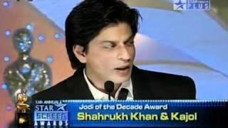 youtube shahrukh kajol best jodi of the decade 16th annual star screen awards 2010 hdflv