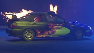 Crazy Slow-Mo Subarus On Fire! - Top Gear Live 2014 Glasgow