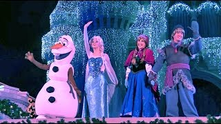 Frozen Holiday Wish castle lighting show debut - Elsa, Anna, Olaf, Kristoff at Walt Disney World thumbnail