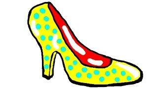Drawing & Coloring Pages Women's Shoes Pumps For Kids, Learning Colors, Раскраска Туфли