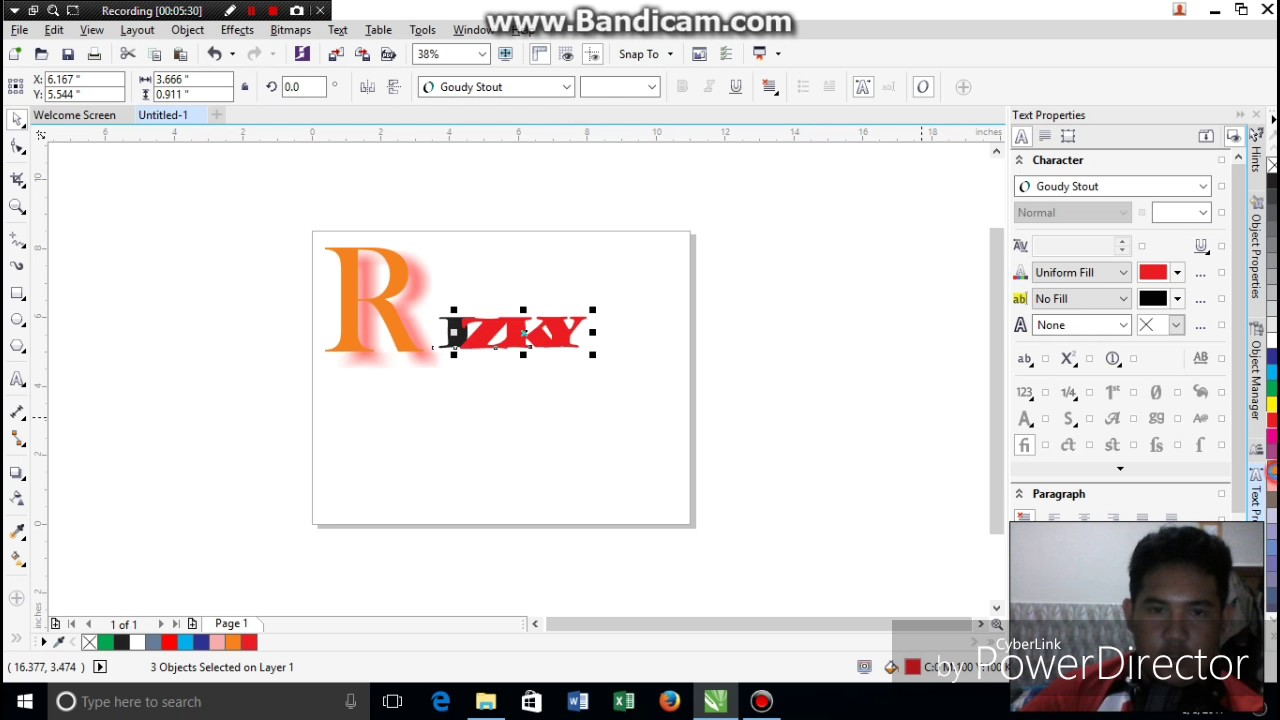 Tutorial Membuat Tulisan Berefek di CorelDraw X7 - YouTube
