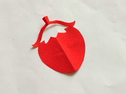 Super easy paper cutting:strawberry