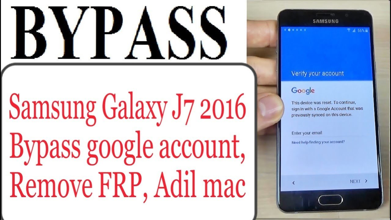 Bypass google account Samsung Galaxy J7 2016 Remove FRP protection