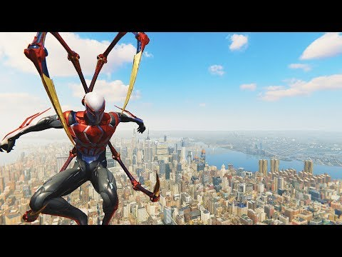 Spider-Man PS4 - Spider-Man 2099 White Suit With Iron Arms Combat & Free Roam Gameplay