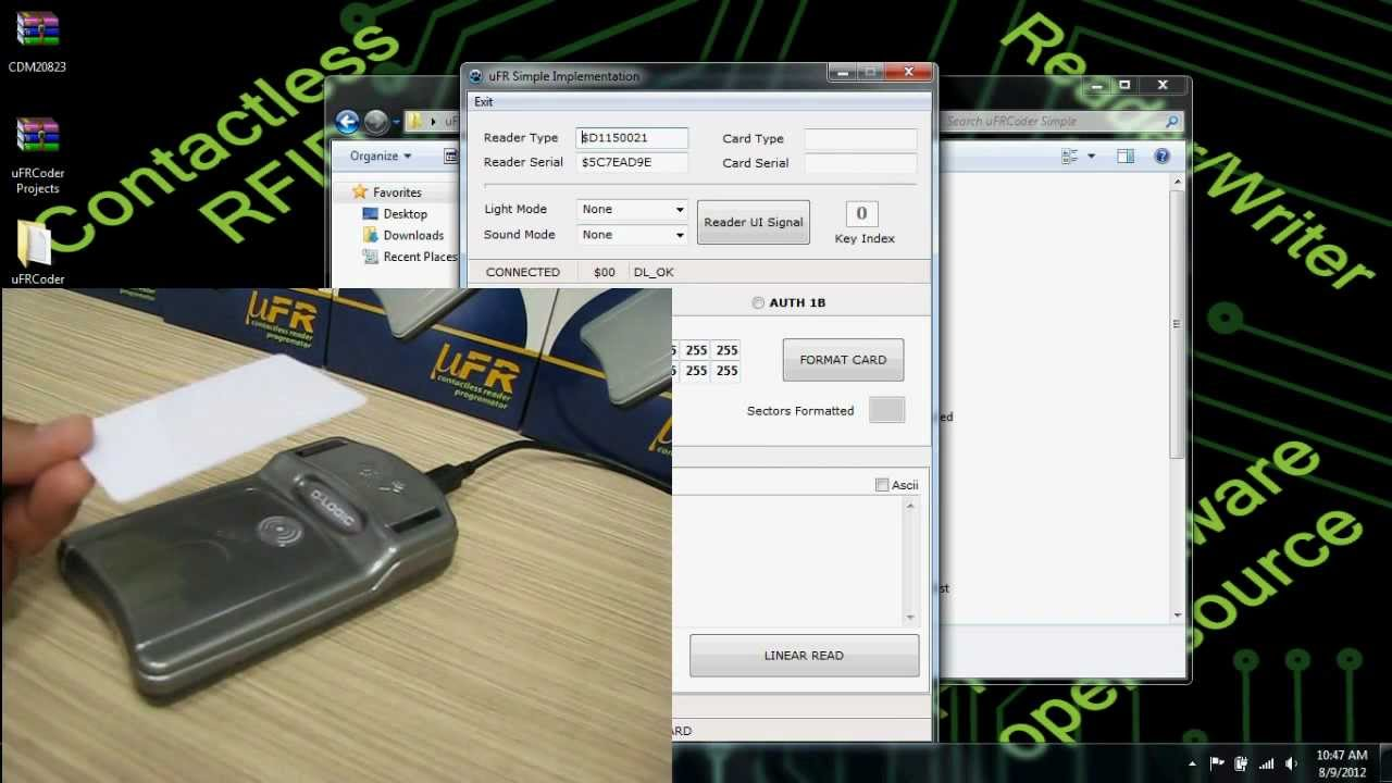 uFR Mifare RFID Reader Writer - uFRCoder Simple Lazarus software review